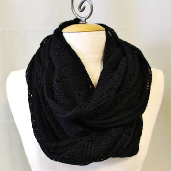 black lightweight knit aztec geometric knit pattern chuncky infinity, loop, chunky scarf accessory womens scarf