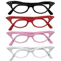 Rhinestone Cat Eye 50s Party Glasses in Many Colors