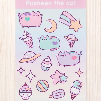Pastel Pusheen Ice Cream Party sticker sheet