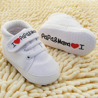 Cute Heart-shaped I Love Mum And Dad Lovely Baby Shoes Girl Soft Bottom Footwear
