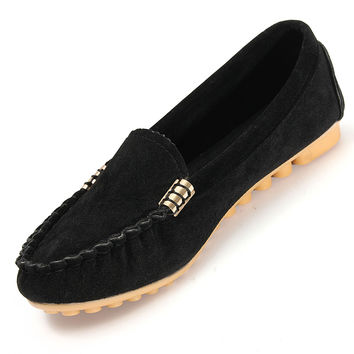 Faux PU Suede Womens Loafers Pea Pea Flat Shoes Ladies Comfort  Ballerina Ballet Flats Slip On Driving Zapatos Spring