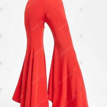 High Waisted Bell Bottom Pants - Red - L