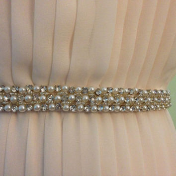 Pearl and Crystal Lattice Handmade Beaded Ivory Satin Bridal Sash
