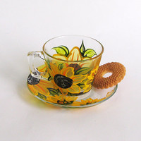 Sunflowers Hand Painted Glass Tea cup and saucer 7 oz Coffee cup Frosted Yellow flowers Birthday gift Home decor Kitchen tea cup Cup for her