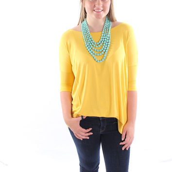 The Perfect Piko 3/4 Sleeve Top-Mustard