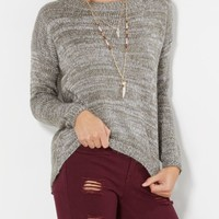Gray Marled High-Low Sweater | Sweaters | rue21