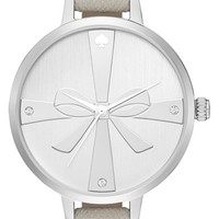 Women's kate spade new york 'metro - strapped up' leather strap watch, 34mm - Clocktower Grey/ Silver