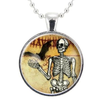 Halloween Skeleton Necklace, Bat And Skull Spooky Jewelry, Gothic Macabre Pendant