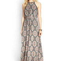 LOVE 21 Folk Woven Maxi Dress Black/Peach