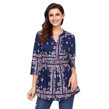 Stylish Floral Print Navy Chiffon Button-Down Pin Tuck Tunic
