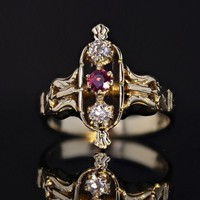 14k Yellow Gold Estate Diamond and Ruby Ring