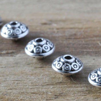 Pretty Ornate Silver Saucer Shape Spacer Beads Beading 10pcs Jewellery Findings Jewellery Making diyforstyle
