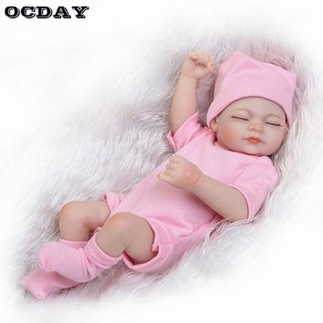 26CM Lifelike Reborn Baby Dolls Soft Vinyl Silicone Newborn Doll Baby bebe reborn realista Accompany doll Toys For Children Girl