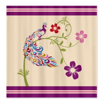 Stripe and Colorful Peacock Shower Curtain