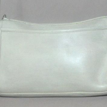 RARE Vintage COACH Creme White Aged Leather Crossbody Purse Bag From '70's