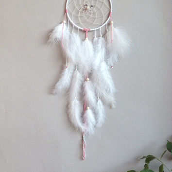 Blush & White Feathers Dreamcatcher - Boho Chic Bedroom - Nursery wall Decor - Wall Hanging Dreamcatcher - Tribal Style - Native American