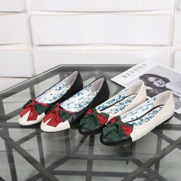 Gucci Butterfly-knotted Ballet Flat Soled Casual Shoes