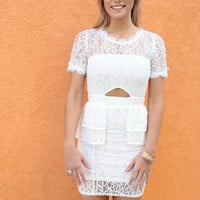 Little Lady White Raw Lace Peplum Dress