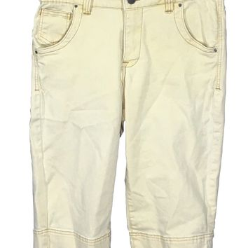 Jag Jeans Shorts Light Yellow Capris Stretch Back Flap Pockets Womens Size 8-Preowned