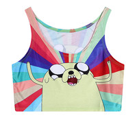 Dogs Summer Print Sleeveless Slim Tank Top = 4824055556