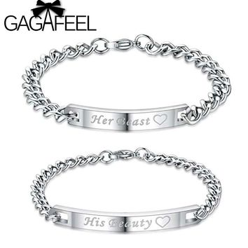 GAGAFEEL Her Beast Couple Bracelets His Beauty Bracelets Customized Name Stainless Steel Romantic Lover Bracelet Bangle