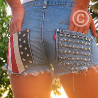 Made to order vintage low rise,high waisted jean shorts, studded American flag by Jeansonly