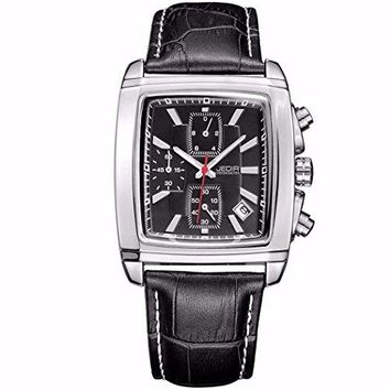 Jedir Rectangular Shaped Watch w/ Black Face and Leather Bands, Date, Water and Shock Resistant