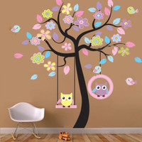 Huge Cute Owls Bird Swing Flower Tree Wall Stickers Art Decal Kids Nursery Decor