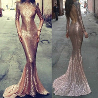 Gold Sequined Backless Maxi Dress