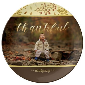 Autumn Colors, Thankful Photo Porcelain Plate