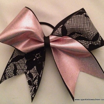 Pink and Black Lace Pattern Tick Tock Cheer Bow Hair Bow Cheerleading