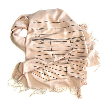 Book scarf. Library Card Scarf. Date Due Slip linen weave pashmina. Blush pink scarf & more. Librarian, writer, library science gift.