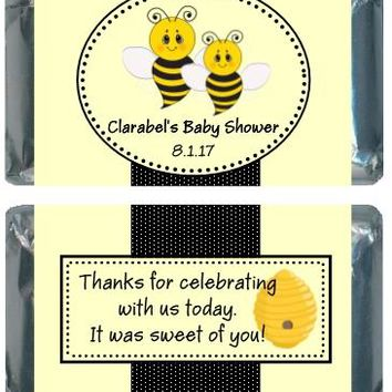 18 Bee Baby Shower Miniature Chocolate Bar Wrappers