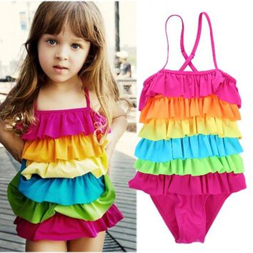 Rainbow Ruffle Modest One-Piece Girls Swimsuit Bathing Suit