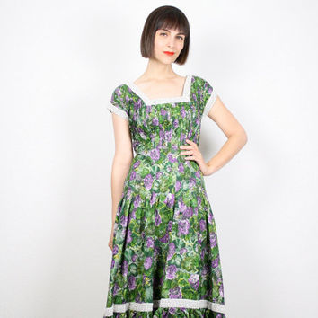 Vintage 50s Dress Midi Dress 1950s Dress Day Dress Green Purple Floral Print Sundress Lace Trim Tea Length Dress Mad Men 1960s 60s S Small