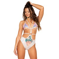 Strappy Teardrops Sequin Bodysuit with O-Ring Detail