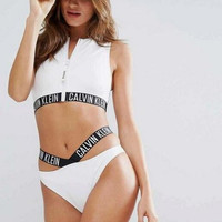 Calvin Klein Zip Rash Vest Strap Bottom Two-piece Bikini SUIT SET