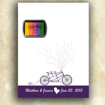Thumbprint Wedding Guest Book Alternative Fingerprint Tandem Bicycle for Two with balloons sign in Keepsake Wedding Gift / Includes Ink Pad