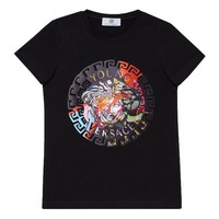 Versace Girls Black Colorful Logo T-shirt