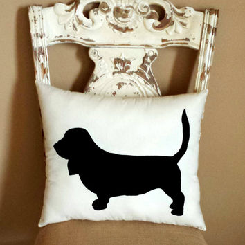 Basset Hound Dog Silhouette Throw Pillow/ Decorative Pillow/ Home Decor/ Pets/ Dog Pillow/ Dog Silhouette/Dorm Decor **FREE SHIPPING**