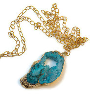 Teal/Blue Druzy Quartz and Gold Gemstone Pendant Necklace With Gold Chain - PeysDesigns
