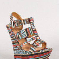 Women's Dollhouse Tribal Strappy Open Toe Platform Wedge - Brown/Pink