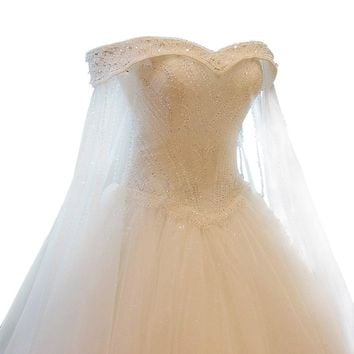 Crystal Beading Lace Wedding Dress Bride Princess Embroidery Boat Neck A-line Wedding Gown