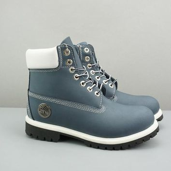 Timberland Leather Lace-Up Icon Premium Boot High Navy White Black