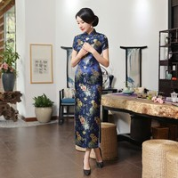 Blue Long Slit Floral Silk Long Cheongsam One-piece Chinese Qipao Dress