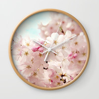 cherry blossoms Wall Clock by sylviacookphotography