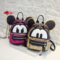 Child Cartoon Backpack Cute Mickey Bag for Women Sequined Leather Double Strap Backpack with Star Rivet School Bag