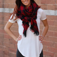 Blanket Scarf - Red