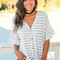 Gray and White Striped Tie Top
