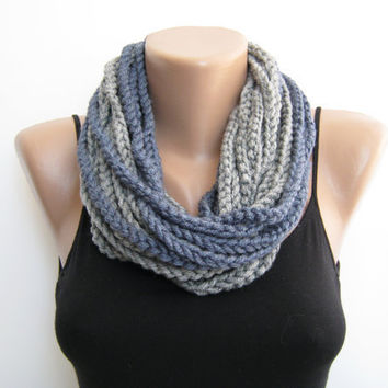 Gray&Blue crochet chain scarf,cowl,neck warmer, infinity scarf